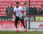 Jamal Blackman of Sheffield Utd wears a Weston park Charity t-shirt during the championship match at the Bramall Lane Stadium, Sheffield. Picture date 14th April 2018. Picture credit should read: Simon Bellis/Sportimage