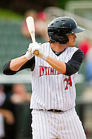 Patrick Palmeiro (24) of the Kannapolis Intimidators at bat against the Hagerstown Suns at CMC-Northeast Stadium on May 16, 2013 in Kannapolis, North Carolina.  The Suns defeated the Intimidators 10-7.   (Brian Westerholt/Four Seam Images)