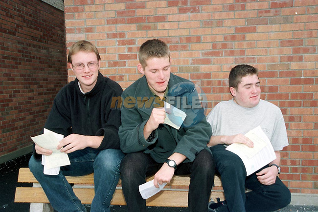 Diarmud Dunne Mornington, Brian Hatch Bettystown and Conor Buckley Baymore having a good laugh after receiving their Leaving cert results in St Marys.Pic Fran Caffrey / Newsfile