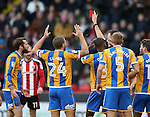 Jim O'Brien of Shrewsbury (l) revives a red card during the English League One match at the Bramall Lane Stadium, Sheffield. Picture date: November 19th, 2016. Pic Simon Bellis/Sportimage