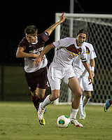 The Winthrop University Eagles played the College of Charleston Cougars at Eagles Field in Rock Hill, SC.  College of Charleston broke the 1-1 tie with a goal in the 88th minute to win 2-1.  ]Adam Brundle (12), Jake Currie (10)