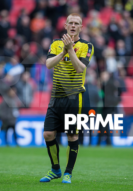 Ben Watson of Watford applauds the supporters during the FA Cup Semi Final match between Crystal Palace and Watford at Wembley Stadium, London, England on 24 April 2016. Photo by Andy Rowland.