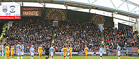 Preston North End fans fill half of a stand<br /> <br /> Photographer Alex Dodd/CameraSport<br /> <br /> The EFL Sky Bet Championship - Huddersfield Town v Preston North End - Friday 14th April 2016 - The John Smith's Stadium - Huddersfield<br /> <br /> World Copyright &copy; 2017 CameraSport. All rights reserved. 43 Linden Ave. Countesthorpe. Leicester. England. LE8 5PG - Tel: +44 (0) 116 277 4147 - admin@camerasport.com - www.camerasport.com