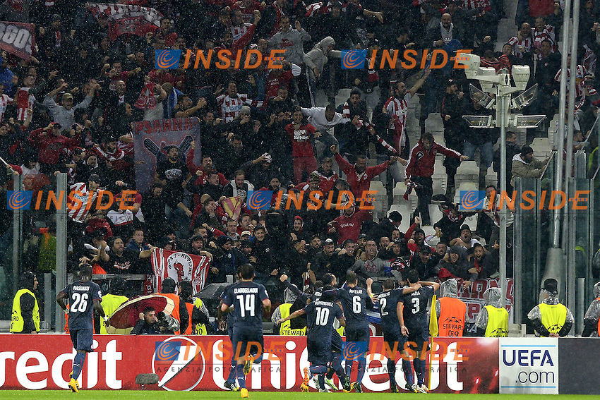 Esultanza Olympiacos dopo gol, goal celebration,<br /> Torino 04-11-2014, Juventus Stadium, Football Calcio 2014/2015 Champions League, Juventus - Olympiacos, foto Filippo Alfero/Insidefoto