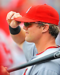 7 March 2012: St. Louis Cardinal infielder Mark Hamilton watches play from the dugout during a game against the Washington Nationals at Space Coast Stadium in Viera, Florida. The teams battled to a 3-3 tie in Grapefruit League Spring Training action. Mandatory Credit: Ed Wolfstein Photo