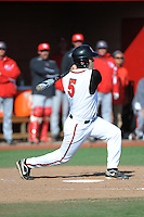 Rutgers Scarlet Knights infielder Nick Favatella (5) during game game 2 of a double header against the University of Houston Cougars at Bainton Field on April 5, 2014 in Piscataway, New Jersey. Houston defeated Rutgers 9-1.      <br />  (Tomasso DeRosa/ Four Seam Images)