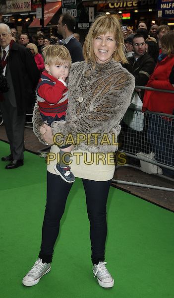 "KATE GARRAWAY, son Billy.""Yogi Bear"" UK film premiere gala screening, Vue cinema, Leicester Square London, England, UK, .February 6th 2011..arrivals full length child kid family grey gray fur coat jacket jeans trainers baby .CAP/CAN.©Can Nguyen/Capital Pictures."