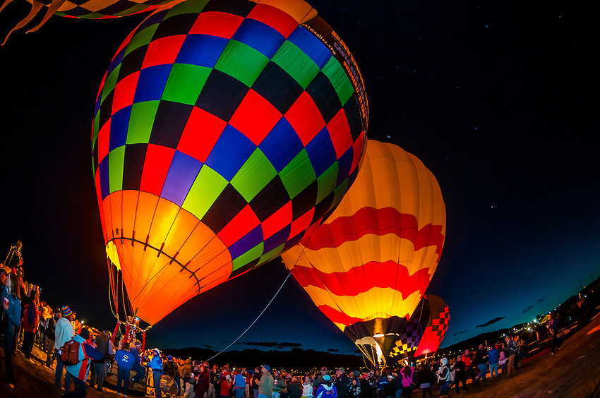 Morning glow, Albuquerque International Balloon Fiesta, Albuquerque, New Mexico USA.