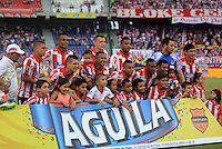 BARRANQUIILLA -COLOMBIA-02-05-2015. Jugadores del Atlético Junior posan para una foto previo al encuentro con Deportes Tolima por la fecha 18 de la Liga Águila I 2015 jugado en el estadio Metropolitano Roberto Meléndez de la ciudad de Barranquilla./ Players of Atletico Junior pose to a photo prior a match against Deportes Tolima for the 18th  date of the Aguila League I 2015 played at Metropolitano Roberto Melendez stadium in Barranquilla city.  Photo: VizzorImage/ Alfonso Cervantes / Cont