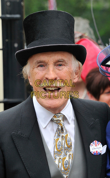 Sir Bruce Forsyth.The Royal Ascot Ladies Day racing event, Day 3, Ascot Racecourse, Ascot, Berkshire, England..June 21st, 2012.headshot portrait white black grey gray jacket top suit top hat tie mouth open moustache mustache facial hair .CAP/WIZ.© Wizard/Capital Pictures.