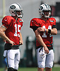 Josh McCown #15 of the New York Jets, left, stands alongside rookie quarterback Sam Darnold #14 during Training Camp at the Atlantic Health Jets Training Center in Florham Park, NJ on Tuesday, Aug. 7, 2018.