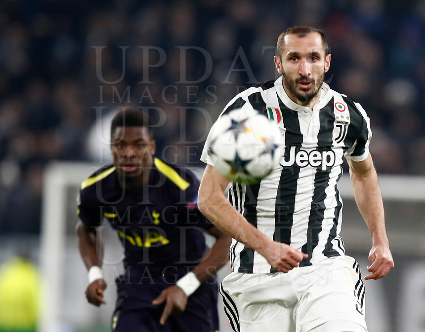 Football Soccer: UEFA Champions League Juventus vs Tottenahm Hotspurs FC Round of 16 1st leg, Allianz Stadium. Turin, Italy, February 13, 2018. <br /> Juventus' Giorgio Chiellini (r) in action during the Uefa Champions League football soccer match between Juventus and Tottenahm Hotspurs FC at Allianz Stadium in Turin, February 13, 2018.<br /> UPDATE IMAGES PRESS/Isabella Bonotto