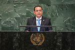 DSG meeting<br /> <br /> AM Plenary General DebateHis<br /> <br /> <br /> His Excellency Jimmy Morales, President, Republic of Guatemala