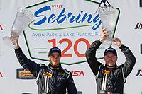 2017 IMSA Continental Tire SportsCar Challenge<br /> Visit Sebring 120<br /> Sebring International Raceway, Sebring, FL USA<br /> Friday 17 March 2017<br /> 60, Ford, Ford Mustang, GS, Jade Buford, Scott Maxwell, podium<br /> World Copyright: MIchael L. Levitt<br /> LAT Images<br /> ref: Digital Image levitt_seb_0317-15379