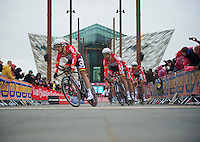 Team Lotto-Belisol off the ramp in front of Belfasts newest landmark: The Titanic Museum<br /> <br /> Giro d'Italia 2014<br /> stage 1: TTT