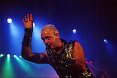 Judas Priest - vocalist Rob Halford performing live the Metal Conqueror Tour at the Jaap Edenhall in Amsterdam Netherlands - 27 Jan 1984.  Photo credit: IconicPix