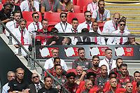 Arsenal's Alexis Sanchez watches the match alongside Mesut Ozil and Shkodran Mustafi during Arsenal vs Chelsea, FA Community Shield Football at Wembley Stadium on 6th August 2017