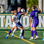 5 October 2019: University of Vermont Catamount Defender Evan Rouleau, a Sophomore from Burlington, VT, in action against University at Albany Great Danes, on Virtue Field in Burlington, Vermont. The Catamounts fell to the visiting Danes 3-1 in America East, Division 1 play. Mandatory Credit: Ed Wolfstein Photo *** RAW (NEF) Image File Available ***