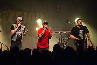 Die Hip-Hop-Gruppe Antilopen Gang aus Duesseldorf, Koeln und Berlin spielte am Samstag den 14. Maerz 2015 im ausverkauften Berliner Club SO36.<br /> Die Band besteht aus den Rappern Koljah Kolerikah (mitte), Panik Panzer (rechts) und Danger Dan (links) und steht beim Toten Hosen-Label JKP unter Vertrag.<br /> 14.3.2015, Berlin<br /> Copyright: Christian-Ditsch.de<br /> [Inhaltsveraendernde Manipulation des Fotos nur nach ausdruecklicher Genehmigung des Fotografen. Vereinbarungen ueber Abtretung von Persoenlichkeitsrechten/Model Release der abgebildeten Person/Personen liegen nicht vor. NO MODEL RELEASE! Nur fuer Redaktionelle Zwecke. Don't publish without copyright Christian-Ditsch.de, Veroeffentlichung nur mit Fotografennennung, sowie gegen Honorar, MwSt. und Beleg. Konto: I N G - D i B a, IBAN DE58500105175400192269, BIC INGDDEFFXXX, Kontakt: post@christian-ditsch.de<br /> Bei der Bearbeitung der Dateiinformationen darf die Urheberkennzeichnung in den EXIF- und  IPTC-Daten nicht entfernt werden, diese sind in digitalen Medien nach &sect;95c UrhG rechtlich geschuetzt. Der Urhebervermerk wird gemaess &sect;13 UrhG verlangt.]