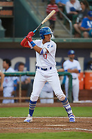 Romer Cuadrado (17) of the Ogden Raptors bats against the Great Falls Voyagers at Lindquist Field on August 16, 2017 in Ogden, Utah. The Voyagers defeated the Raptors 11-6. (Stephen Smith/Four Seam Images)