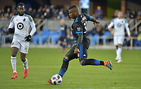 San Jose, CA - Saturday March 03, 2018: Harold Cummings during a 2018 Major League Soccer (MLS) match between the San Jose Earthquakes and Minnesota United FC at Avaya Stadium.