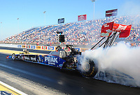 Jul, 8, 2011; Joliet, IL, USA: NHRA top fuel dragster driver T.J. Zizzo during qualifying for the Route 66 Nationals at Route 66 Raceway. Mandatory Credit: Mark J. Rebilas-