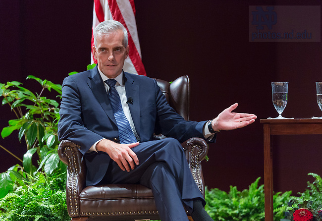 """October 4, 2017; Denis McDonough chief of staff to Presidents Barack Obama, discusses U.S. foreign policy during the Notre Dame Forum: """"Views from the West Wing: How Global Trends Shape U.S. Foreign Policy,"""" held in the Leighton Concert Hall of the DeBartolo Performing Arts Center. (Photo by Barbara Johnston/University of Notre Dame)"""