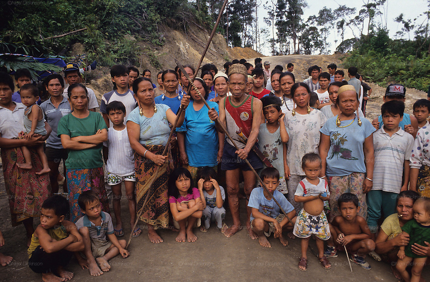 Kenyah native people blockading a logging road, which they manned for two years continuously against logging companies. Several groups of people rotated every few weeks. They were also supported by people from Long Geng. Near Long Lewan, Sarawak, Borneo 1991<br />
