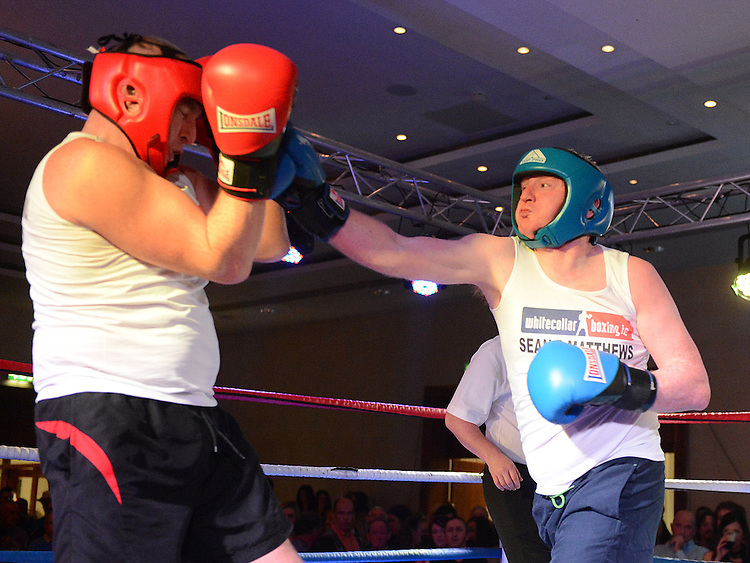 Paul Gorman Clogherhead Dreadnots and Anthony Murtagh St Feckins who took part in the White Collar Boxing in City North Hotel. Photo:Colin Bell/pressphotos.ie