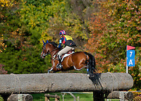 Fun Maker, with rider Mara DePuy (USA), competes during the Cross Country test during the Fair Hill International at Fair Hill Natural Resources Area in Fair Hill, Maryland on October 20, 2012.