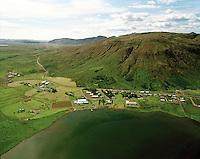 Laugarvatn seð til norðvesturs, Laugardalsfjall, Laugardalshreppur..Laugarvatn school- and touristcenter vierwing northwest..Mount Lagardalsfjall . Laugardalshreppur