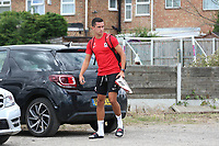 Will Thomas of Ramsgate arrives at the ground in his full kit as he walks from his car to the dressing room carrying his boots during Ramsgate vs Folkestone Invicta, Friendly Match Football at Southwood Stadium on 1st August 2020