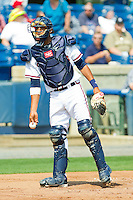 Catcher Christian Bethancourt #27 of the Rome Braves on defense against the Hagerstown Suns at State Mutual Stadium on May 2, 2011 in Rome, Georgia.   Photo by Brian Westerholt / Four Seam Images