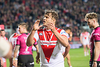 Picture by Allan McKenzie/SWpix.com - 06/04/2018 - Rugby League - Betfred Super League - St Helens v Hull FC - The Totally Wicked Stadium, Langtree Park, St Helens, England - St Helens's captain Jon Wilkin thanks the fans for thjeir support against Hull FC.