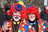 2 March 2014, Duesseldorf, Germany. Pictured: People dressed as clowns. Costumed carnival-goers enjoy the sunshine as they celebrate with a street party in Duesseldorf, North Rhine-Westphalia, Germany.