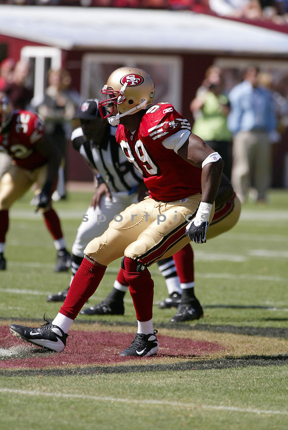 MANNY LAWSON, of the San Francisco 49ers, in action during the  49ers game against the  Detroit Lions  on September 21, 2008 in San Francisco, California...The San Francisco 49ers win 31-13