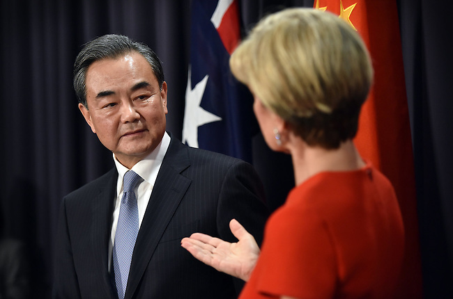 Australian Foreign Minister Julie Bishop (R) speaks during a press conference with Chinese Foreign Minister Wang Yi (L) at Parliament House Canberra, Tuesday Feb 7, 2017. AFP PHOTO/ MARK GRAHAM