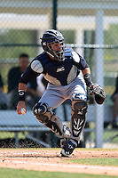 Catcher Luis Torrens (20) of the New York Yankees organization during a minor league spring training game against the Pittsburgh Pirates on March 22, 2014 at Pirate City in Bradenton, Florida.  (Mike Janes/Four Seam Images)