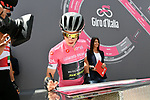 Race leader Simon Yates (GBR) Mitchelton-Scott in the Maglia Rosa at sign on before the start of Stage 9 of the 2018 Giro d'Italia, running 225km from Pesco Sannita to Gran Sasso d'Italia (Campo Imperatore), this year's Montagna Pantani, Italy. 13th May 2018.<br /> Picture: LaPresse/Gian Mattia D'Alberto | Cyclefile<br /> <br /> <br /> All photos usage must carry mandatory copyright credit (&copy; Cyclefile | LaPresse/Gian Mattia D'Alberto)