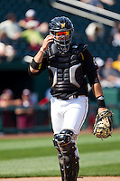 Chris O'Brien (22) of the Wichita State Shockers looks to the coaches during a game against the Missouri State Bears on April 9, 2011 at Hammons Field in Springfield, Missouri.  Photo By David Welker/Four Seam Images
