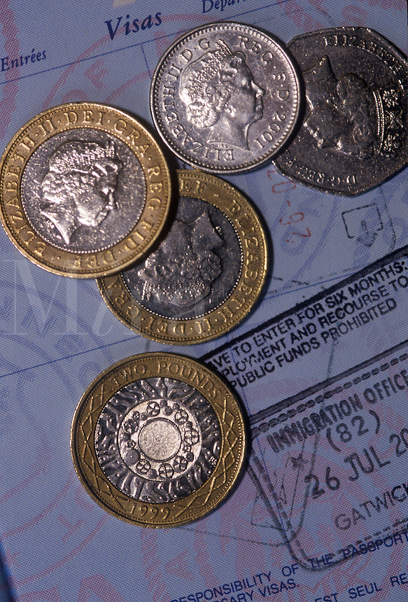 British coins with a visa. Passport