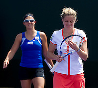 Kim CLIJSTERS (BEL) & Kirsten FLIPKENS (BEL) against Sarah BORWELL (GBR) & Raquel KOPS-JONES (USA). Clijsters and Flipkens beat Borwell and  Kops-Jones 7-6 6-4..International Tennis - 2010 ATP World Tour - Sony Ericsson Open - Crandon Park Tennis Center - Key Biscayne - Miami - Florida - USA - Thurs  25 Mar 2010..© Frey - Amn Images, Level 1, Barry House, 20-22 Worple Road, London, SW19 4DH, UK .Tel - +44 20 8947 0100.Fax -+44 20 8947 0117