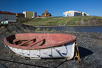 A disused life raft in the harbour at Anadyr