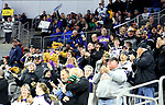 SIOUX FALLS, SD - MARCH 23: Mankato fans celebrate a goal against Minnesota Duluth during their game at the 2018 West Region Men's NCAA DI Hockey Tournament at the Denny Sanford Premier Center in Sioux Falls, SD. (Photo by Dave Eggen/Inertia)