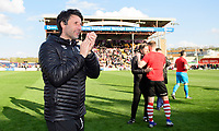 Lincoln City manager Danny Cowley celebrates after securing promotion from Sky Bet League Two<br /> <br /> Photographer Chris Vaughan/CameraSport<br /> <br /> The EFL Sky Bet League Two - Lincoln City v Cheltenham Town - Saturday 13th April 2019 - Sincil Bank - Lincoln<br /> <br /> World Copyright &copy; 2019 CameraSport. All rights reserved. 43 Linden Ave. Countesthorpe. Leicester. England. LE8 5PG - Tel: +44 (0) 116 277 4147 - admin@camerasport.com - www.camerasport.com