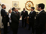 Nevada Gov. Brian Sandoval, second from right, talks with lawmakers, from left, Sens. Aaron Ford and Barbara Cegavske, Assembly members Jason Frierson, Pat Hickey and William Horne and Sen. Ruben Kihuen after the end of the 77th Legislative session in Carson City, Nev., on Monday, June 3, 2013. (AP Photo/Cathleen Allison)