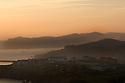 early morning fog looking back at Mundaka, Spain.