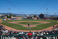 San Manuel Stadium, home of the Inland Empire 66ers during a California League game between the Modesto Nuts and the 66ers on April 10, 2019 in San Bernardino, California. Inland Empire defeated Modesto 5-4 in 13 innings. (Zachary Lucy/Four Seam Images)