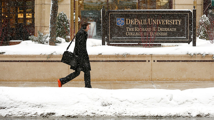 Snow falls on the Loop campus of DePaul University in Chicago as the New Year brought two days of lake effect snow and ice. (Photo by Jamie Moncrief)