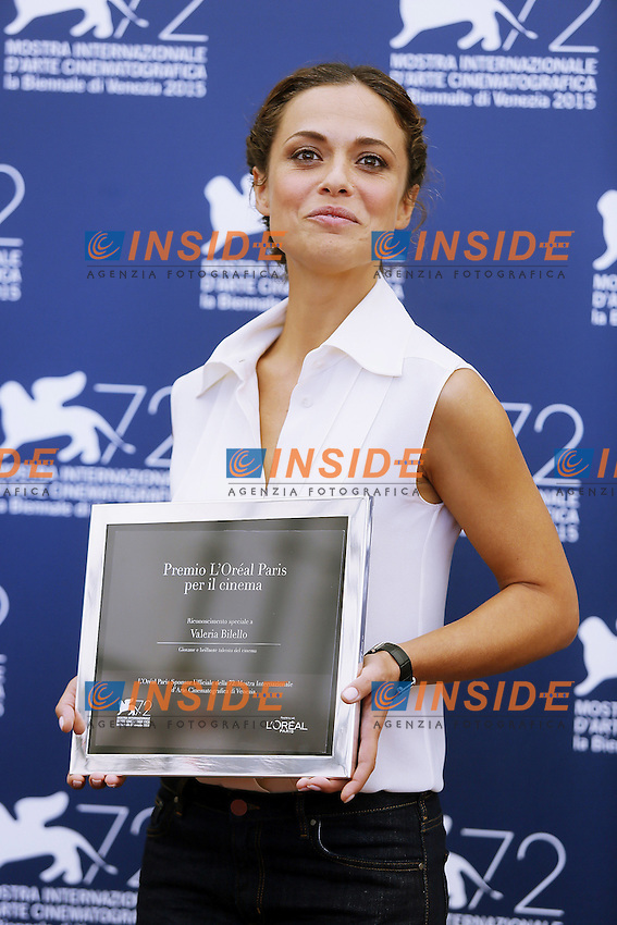 VENICE, ITALY - SEPTEMBER 10: Valeria Bilello attends 'L'Oreal Award' Photocall during 72nd Venice Film Festival at Palazzo Del Cinema on September 10, 2015 in Venice, Italy. (Mark Cape/insidefoto)